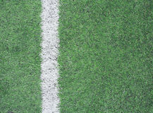 Soccer field with white stripe background Royalty Free Stock Photo