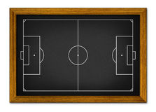Soccer field in the wooden frame. Royalty Free Stock Images