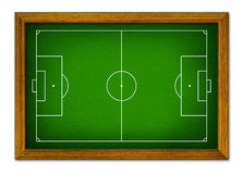 Soccer field in the wooden frame. Royalty Free Stock Photos