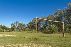 Soccer field with wooden goals. Amateur. More options in my profile Royalty Free Stock Photos