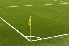 Soccer field. With a yellow corner flag pole Royalty Free Stock Images
