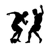 Soccer figures in action. Two vector figures soccer players stock illustration