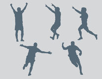 Soccer Figures Vector 3 Celebration. Five soccer figures created in Adobe Illustrator.  These silhouettes are very detailed.  You will not be disappointed with Royalty Free Stock Photo