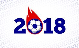 2018 soccer fire ball illustration on white goal net backdrop. National flag colors. Tee shirt clothing apparel print design background Royalty Free Stock Image