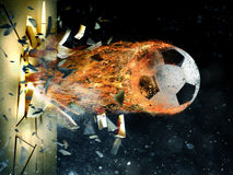 Soccer fireball power Stock Photography