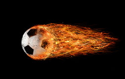 Soccer fireball. Professional soccer fireball leaves trails of flames royalty free stock photos