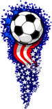 Soccer Firework with Flags and Stars. Stars and Stripes Fireworks Patriotic Soccer Ball Illustration Stock Photography