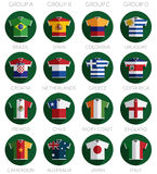 Soccer flag shirt icons Royalty Free Stock Photography