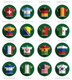Soccer flag shirt icons Stock Photos