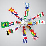 Soccer 2014 flag. Soccer wold cup 2014 all flag Stock Photography