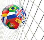 Soccer flags ball 3d rendering Stockfotos