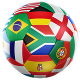 Soccer with flags from world cup 2010. 3d rendering of a soccer ball with flags of the participating countries in world cup 2010 Royalty Free Stock Photos