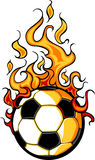 Soccer Flaming Ball Vector Cartoon. Flaming Soccer Ball Cartoon burning with Fire Flames Royalty Free Stock Image