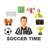 Soccer Flat Icon Concept Stock Photography
