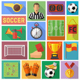 Soccer Flat Icon Set Stock Photos