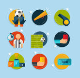 Soccer flat icons set Royalty Free Stock Image