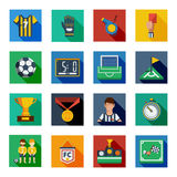 Soccer Flat Squared Icon Set Royalty Free Stock Photo