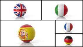 Soccer footaball balls collage Royalty Free Stock Photo