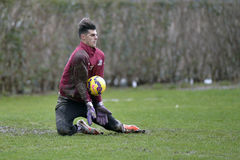 Soccer or footbal goalkeeper intervention. Soccer or footbal goalkeeper, Virgil Draghia of Rapid Bucharest (Romania) pictured in action during the friendly Stock Photography