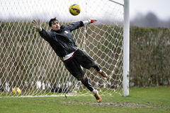 Soccer or footbal goalkeeper. Mircea Bornescu of Rapid Bucharest (Romania) pictured in action during the friendly football match between his team and Marek Stock Image