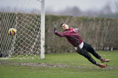 Soccer or footbal goalkeeper. Virgil Draghia of Rapid Bucharest (Romania) pictured in action during the friendly football match between his team and Marek Royalty Free Stock Photography