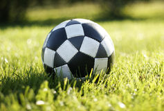 Soccer football. Colorful photo of a soccer or football in the grass with backlight royalty free stock photo
