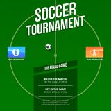 Soccer, football ad. Template for game tournament. Green soccer field, top view with flags of participating teams. Design of poster for Sports events. Ready Royalty Free Stock Photo