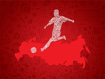 Soccer / Football Background With Russia Map And Player From Text. Vector Illustration Stock Photos