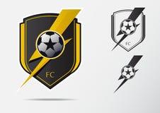 Soccer or Football Badge Logo Design for football team. Minimal design of golden thunderbolt and black and white soccer ball. Football club logo in lightning Stock Image