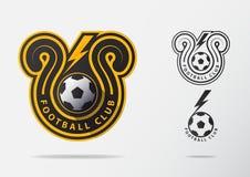 Soccer or Football Badge Logo Design for football team. Minimal design of golden thunderbolt and black and white soccer ball. Football club logo in lightning Royalty Free Stock Photography