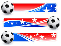 Soccer (football) Ball with American Banners Royalty Free Stock Photo