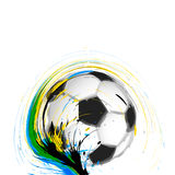 Soccer football ball background of Brazil flag Royalty Free Stock Images