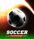 Soccer or football ball in the backlight with a flight path in the form of a light beam. Vector illustration Royalty Free Stock Photography