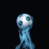 Soccer Football Ball On Blue Smoke. Vector Illustration. On Black Background Stock Image