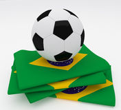 Soccer football ball  Brazil flag Stock Image