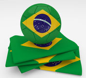Soccer football ball  Brazil flag. Soccer football ball with Brazil flag Stock Photo
