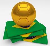 Soccer football ball Brazil flag Royalty Free Stock Photos