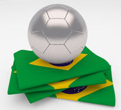 Soccer football ball  Brazil flag. Soccer football ball with Brazil flag Royalty Free Stock Photos