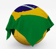 Soccer football ball Brazil flag Stock Photo