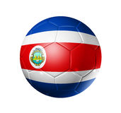 Soccer football ball with Costa Rica flag. 3D soccer ball with Costa Rica team flag. isolated on white with clipping path Royalty Free Stock Images