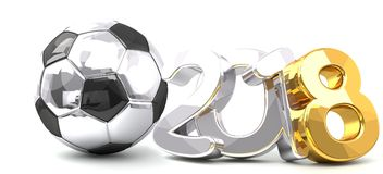 2018 soccer football ball 3d rendering. golden silver design. 2018 soccer football ball 3d rendering. golden silver Royalty Free Stock Image