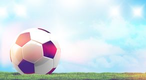 Soccer football ball 3d rendering green grass meadow blades. Soccer football ball 3d rendering with green grass meadow blades of grass Stock Image