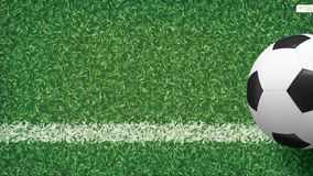 Soccer football ball in soccer field pattern and texture background. Vector illustration Royalty Free Stock Photography