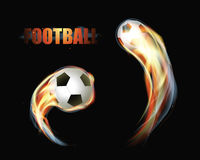 Soccer Football Ball On Fire With Smoke. Color Glow Vector Illustration Stock Photo