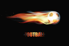 Soccer Football Ball On Fire With Smoke. Color Glow Vector Illustration. On Black Background Royalty Free Stock Images