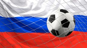 Soccer football ball and flag of Russia with goal at soccer net. 3d illustration design Stock Photos