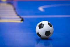 Soccer Football Ball on Futsal Field. Blue Futsal Training Pitch. Training Agility Ladder in the Background. Closeup on Classic Soccer Football Ball royalty free stock image