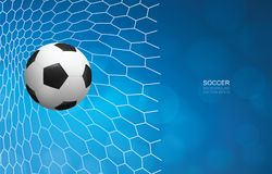 Soccer football ball in goal and soccer net with light blurred bokeh background. vector illustration