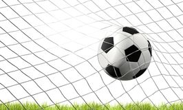 Soccer football ball and green lawn with goal at soccer net 3d i. Llustration design Royalty Free Stock Image