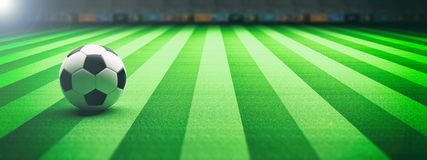 Soccer football ball on a field background. 3d illustration Royalty Free Stock Photos